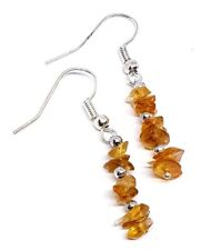 Citrine Natural Chip Earrings Genuine Gemstone Silver Beads Chakra Healing Stone