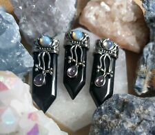 Black Obsidian sword necklace point pendant protection With amethyst opalite