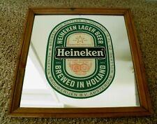 "Vintage~Heineken Beer Mirror Sign~13 1/4"" Sq.~ Man Cave Bar Rec Room~Wood Frame"