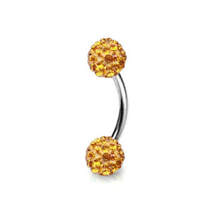 16G CZ Crystal 316L Surgical Steel Curved Barbell Eyebrow Ring Piercing Jewelry