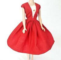 Vintage Barbie Clone / Handmade Dress Red & White Lace MINT