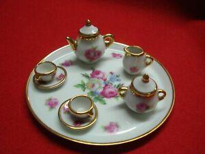 Vintage R.P Limoges France Miniature Porcelain Tea Set Pink Floral / Gilded