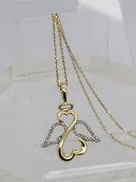 14k Yellow Gold Round Diamond Cluster Angel Jane Seymour Open Heart Necklace