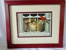 "New listing Cat & Cardinal Winter Framed Print 8"" X 10"" Exc."