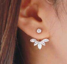 Silver Tone Leaves Crystal Rhinestone Ear Cuff Stud Earrings Climber Rings ECF19