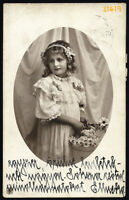 sweet girl w flowers, Vintage PC Photograph, 1912 Hungary