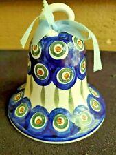 "Polish Pottery Bell Blue Peacock Leaf Pattern HTF Rare 2.5"""