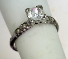 "Antique Sterling Silver Rhinestone Faux "" Diamond "" Engagement Ring Size 7 #C62"