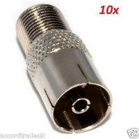 10 FEMALE COAX PLUG F CONNECTOR TO FIT SATELLITE CABLE