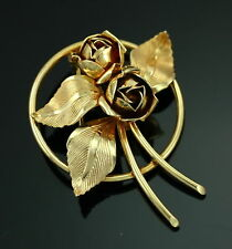 VintageMid Century 10k Pure Gold Designer Rose Flower 3D Bouquet Pin Forstner