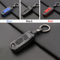 Carbon Fiber Shell+Silicone Cover Remote Key Holder Fob Case For Mazda3 Mazda 3
