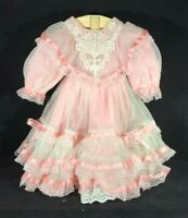 "Fancy Pink & White Two Layered Dress, Petticoat and Matching Shoes for 19"" Doll"
