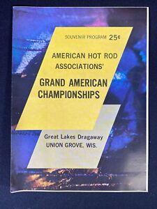 Vtg 1960's American Hot Rod Association Union Grove Wisconsin Drag Race Program