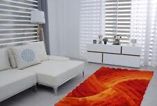 Swirls 3D Carved Modern Luxury Thick Silky Soft Pile Floor Room Rug Red Orange