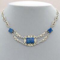 Vtg 1920s Art Deco Sterling Silver Lapis Lazuli Marcasite Pendant Necklace