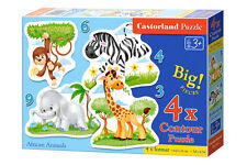 Castorland B-005017 4x Puzzle African Animals Tiere Kinderpuzzle 22 Teile