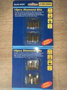 "20.pcs Diamond Screw Driver Bit Slotted Titanium Coated 1/4"" Hex Bit No.5mm"