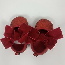 Ruby Red Slippers Shoes Baby Girl Size 0-3 Month Glitter Bows Dorothy Oz Costume