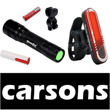 alloy front torch & rear back 7 led USB rechargeable focus bike lights set cree