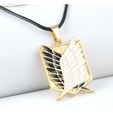 US! Attack On Titan GOLD Scout Regiment Wings Of Freedom Metal Charm Necklace