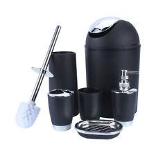 6pcs Plastic Bathroom Set Accessory Cup Toothbrush Holder Soap Dish Bin Home