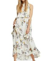 Free People Women's Dress White Ivory Size XS Floral Smocked Maxi $128- #246