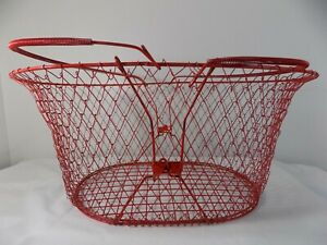 Oval Collapsible Red Wire Basket - slightly used condition
