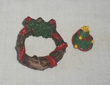 2pc Dollhouse Miniature Doll Christmas Holiday Decoration Wreath Tree Garland
