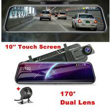 10'' HD 1080P Dual Lens Car DVR Rearview Mirror Dash Cam Recorder Camera Kits