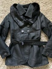 Violanti Italy Made Womens Coat Sz 42 / 6 Genuine Fur Collar Down Italian Black