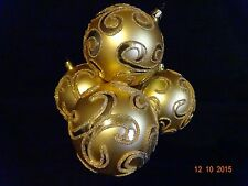 Pier One Large Glass Gold & Glitter Christmas Ornament