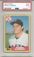 1987 TOPPS #340 ROGER CLEMENS, PSA 9 MINT, BOSTON RED SOX, L@@K !