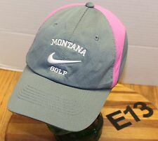 NIKE UNIVERSITY OF MONTANA GOLF HAT GRAY/PINK ADJUSTABLE VERY GOOD CONDITION E13
