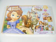 Disney Sofia The First 4 pack of wood puzzles with storage box