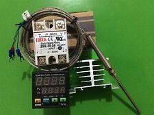Digital F/C PID Temperature Controller TA4-SNR + K-Type Probe +25A SSR+Heat Sink