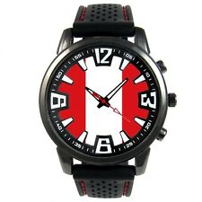 Peru Country Flag Men's Style Rubber Silicone Band Quartz Wrist Watch S176F