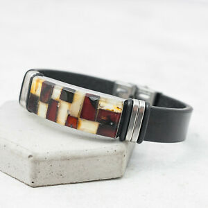Baltic Amber Bracelet Amber Cuff Bracelet Man Bangle Stainless Steel Bracelet