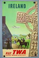 Fly TWA IRELAND Poster Plakat S. Greco 63,5 cm x 101 cm Airline Vintage 50er