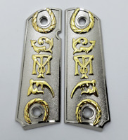 1911 Grips Full Size Tony M Nickel Gold COLT 45/38 super Government Commander