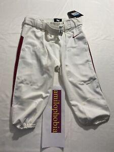 New Mens Medium White Burgundy Nike Football Pants