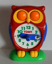 Vintage Red Tomy Owl Clock 1990 Educational Learning Teaching Time