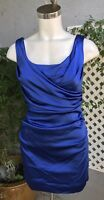 SUZI CHIN FOR MAGGY BOUTIQUE Royal Blue Sleeveless Ruched Flattering Dress Sz 6