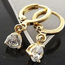 A070 GENUINE REAL 18K YELLOW G/F GOLD DIAMOND SIMULATED GIRLS DROP HOOP EARRINGS