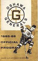 Bobby Orr 1965-66 Oshawa Generals Program  VG Boston Bruins V Peterborough T.PT.