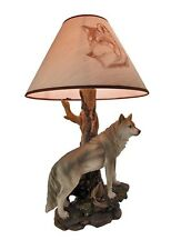 "Alpha Gray Wolf Twilight Lone Hunter Wildlife 20""H Desktop Table Lamp Decor"