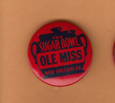 1958 Ole Miss Rebels Sugar Bowl Pin Back Button Unsold Concessions Stock