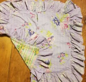 April Cornell Pillowcase Sham- Floral Plaid Madres Purple Ruffle Button 16x16