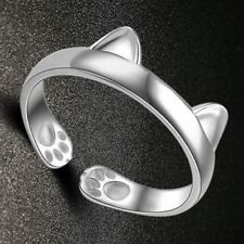 Cute CAT LOVERS Kitten EARS & PAWS Open Adjustable White Gold Ring USA SELLER