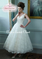 DARCEY Ivory Ballerina Tea Length Lace 50's Vintage Inspired Wedding Dress UK
