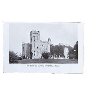 Winnikenie Castle Haverhill MA Black White Photo Print Postcard Undivided unused